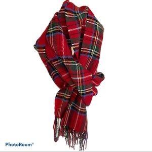 ROOTS red tartan plaid tassel scarf